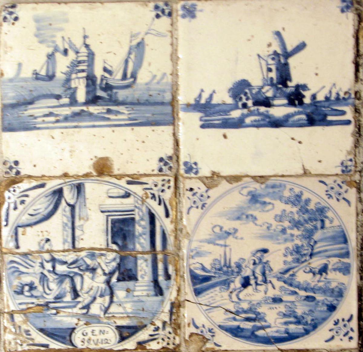 Kvadratisk, motiv; Vindmølle, sjø, skip, nnfelt i klebersteinsovn.