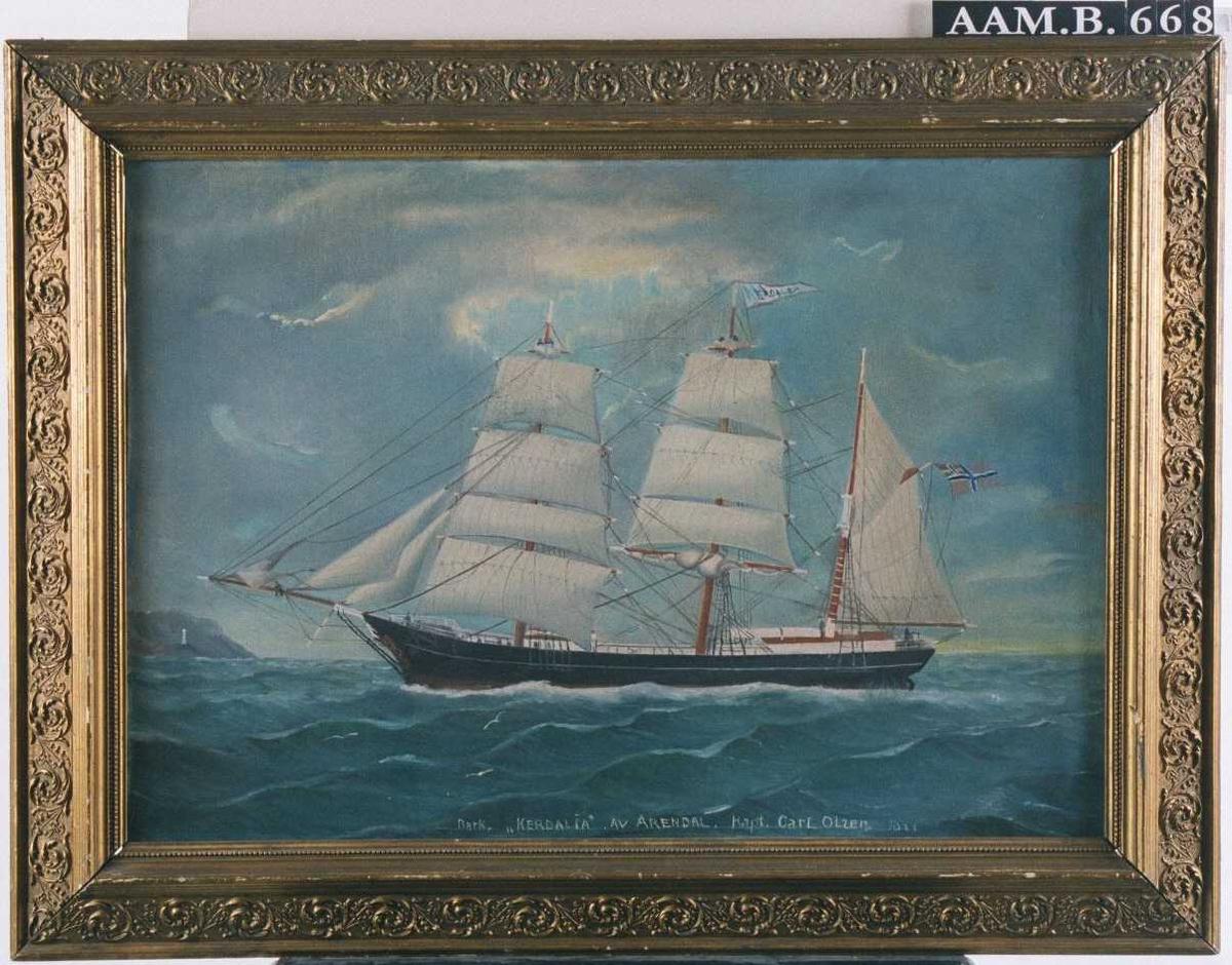 """Bark """"Kerdalia"""" af Arendal, i 1877 ført av  Capt. Carl Olsen.  Lett redusert seilføring, kurs mot venstre, unionsflagg, hvit vimpel m. rød kant, navnet m. blått, stavet """"Kerdalea""""."""