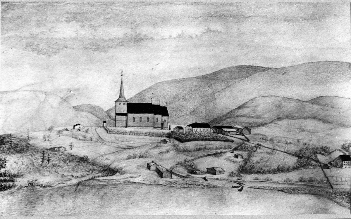 Ås tegning av Gjerstad kirke