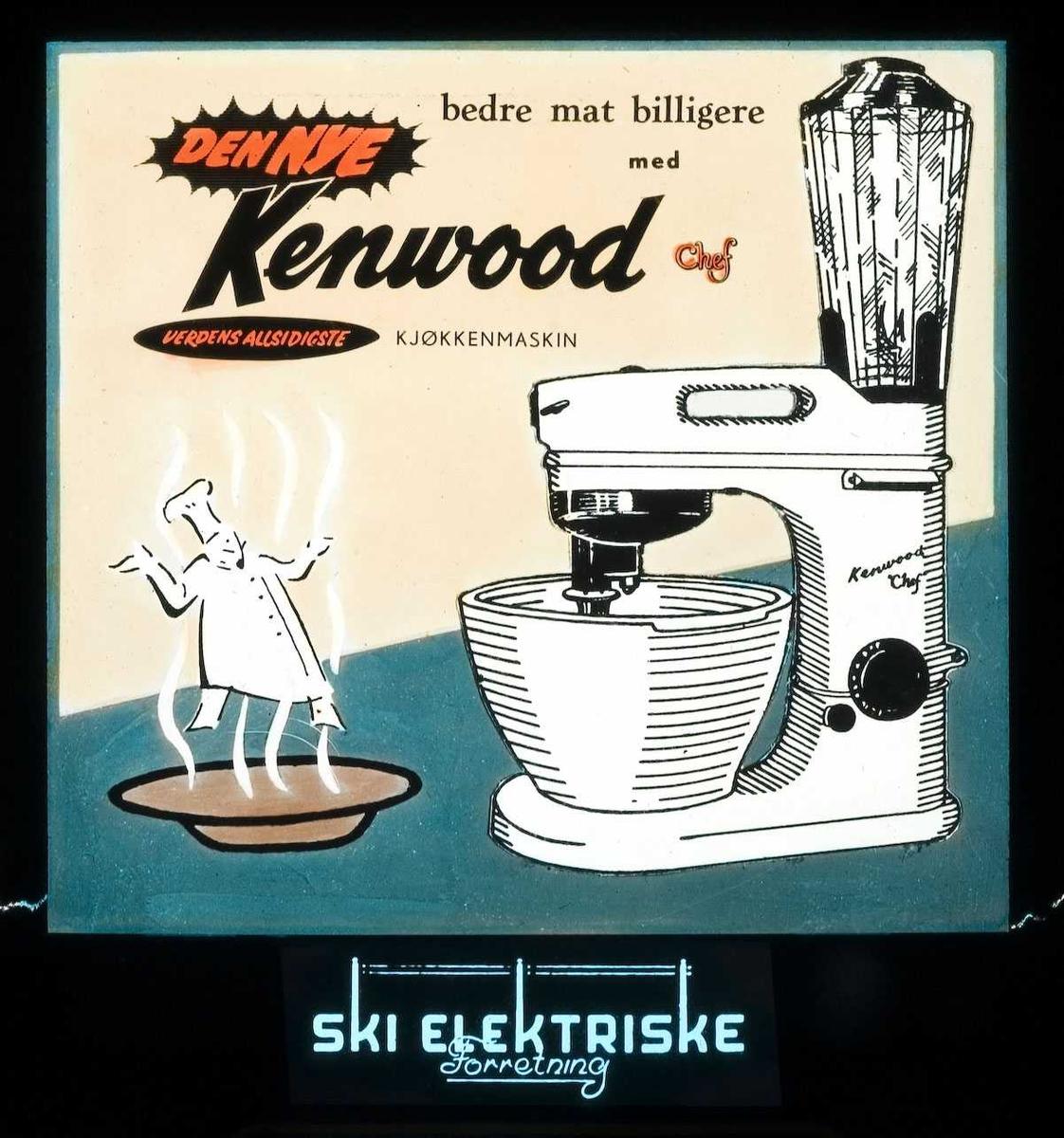 Kinoreklame fra Ski for kjøkkenmaskinen Kenwood Chef. Ski elektriske forretning.