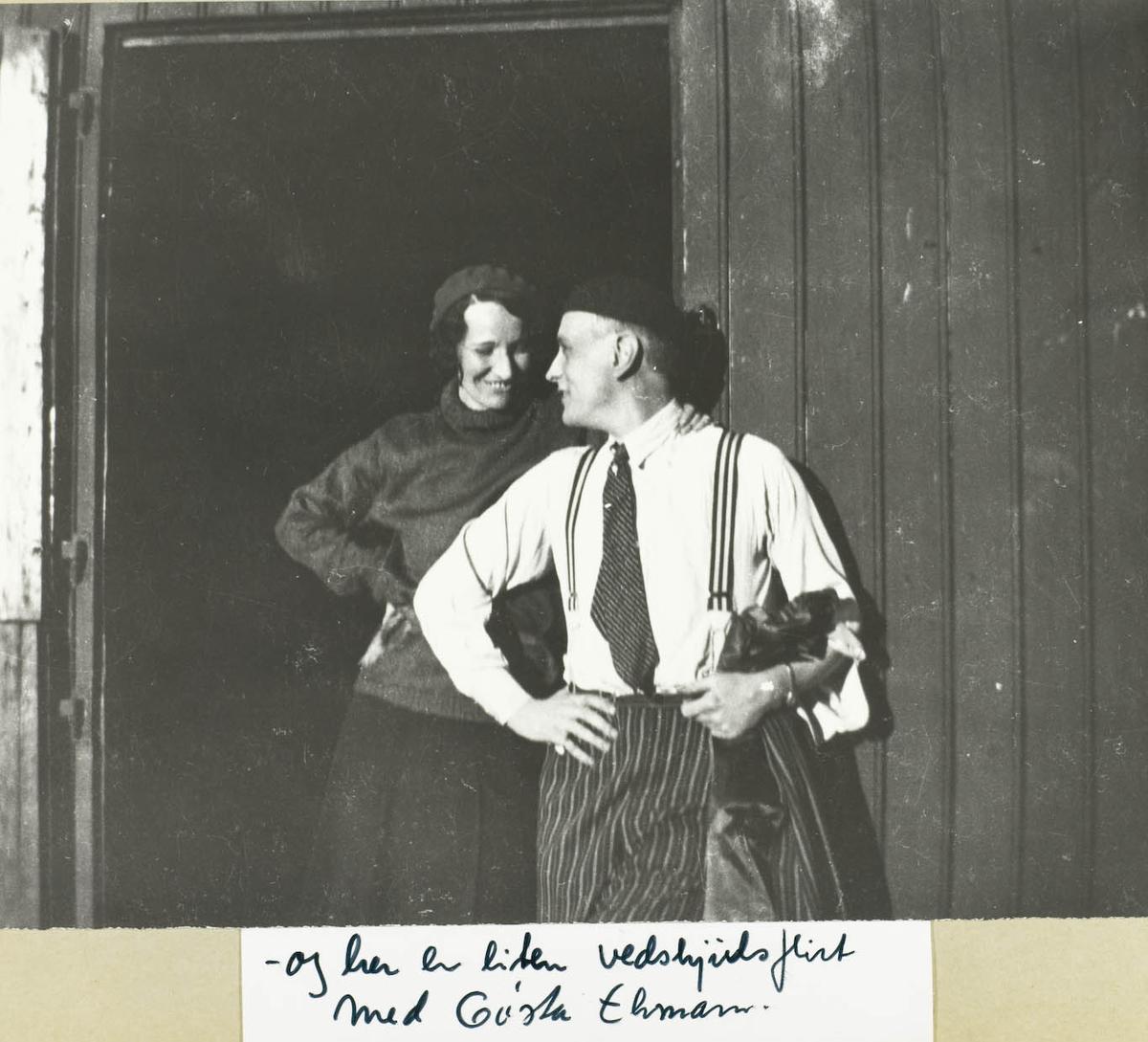To personer - kvinne og mann - utendørs ,Ca 1934