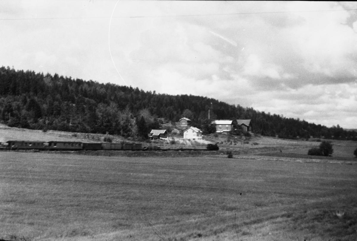 Tog retning Sørumsand ankommer Hornåseng stasjon.