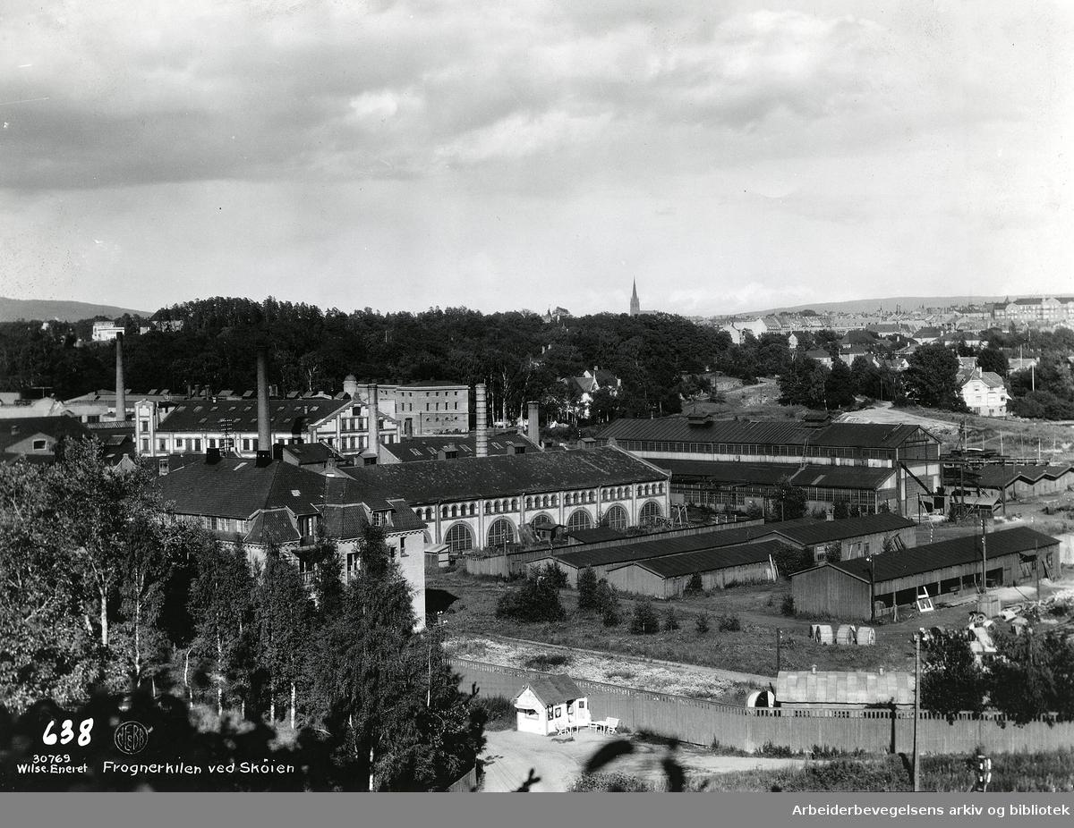 Fabrikkområde til NEBB i Frognerkilen ved Skøyen. .A/S Norsk Elektrisk & Brown Bovery (NEBB) (Norsk Elektrisk Aktiebolag.1928