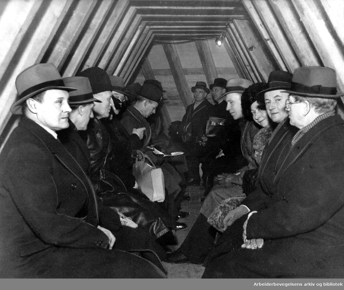 Det sivile luftvern - .Bombesikkert rom i Grünerhagen,.januar 1940.