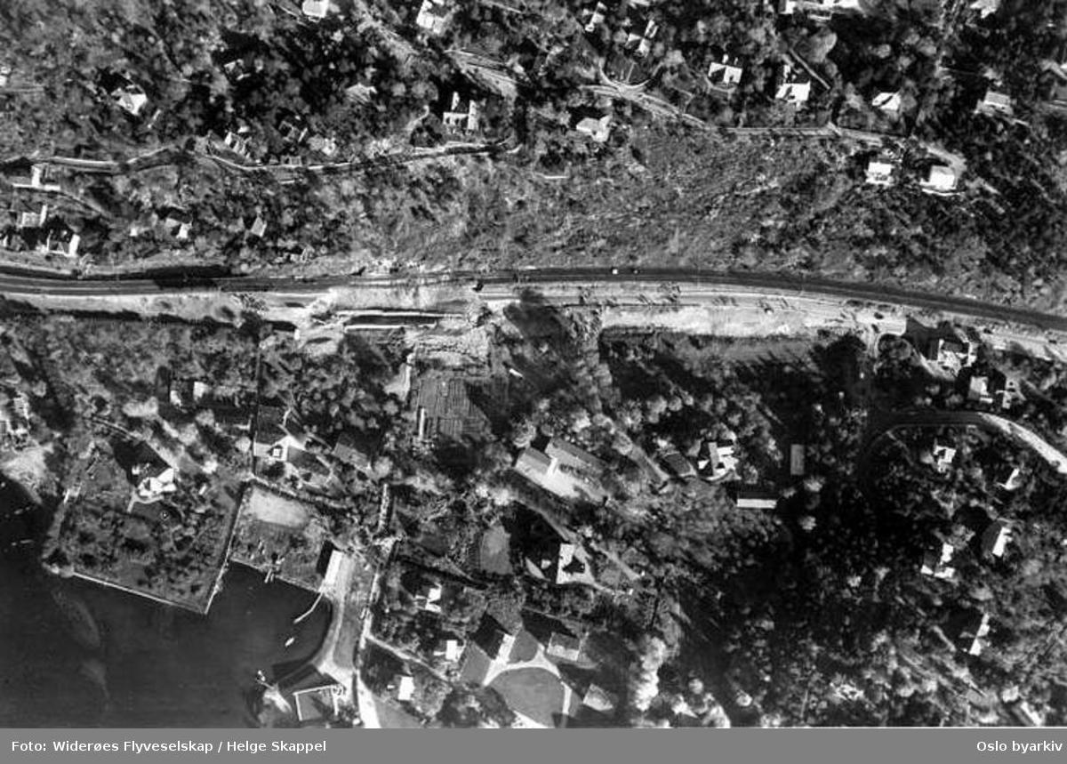 Østfoldbanen, Mosseveien, jordras, ulykke (Flyfoto)