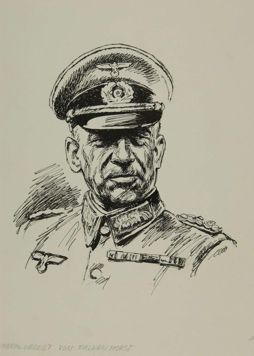 Den tyske landmilitære sjef i Norge, Generaloberst Nikolaus von Falkenhorst. Kampene i Norge 1940, bind 1, side 18.