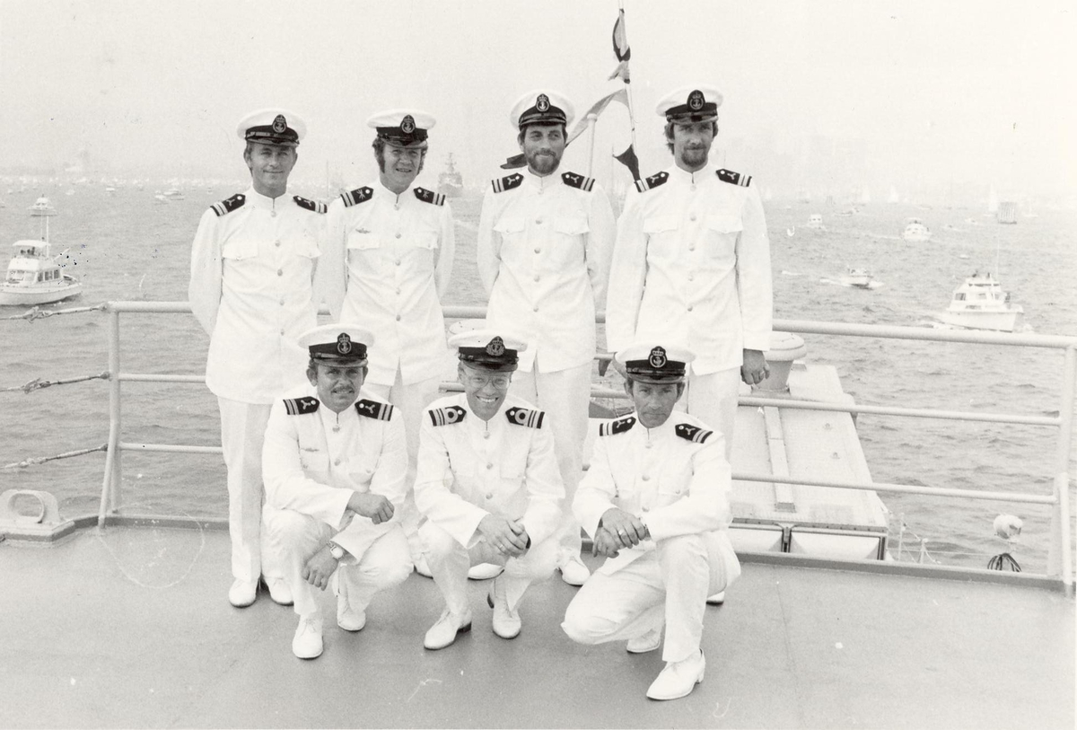 Enkeltbilde. Fregatten KNM Trondheim, besøker New York under 200-års jubileum 4/7-1976. Maskinbefal.