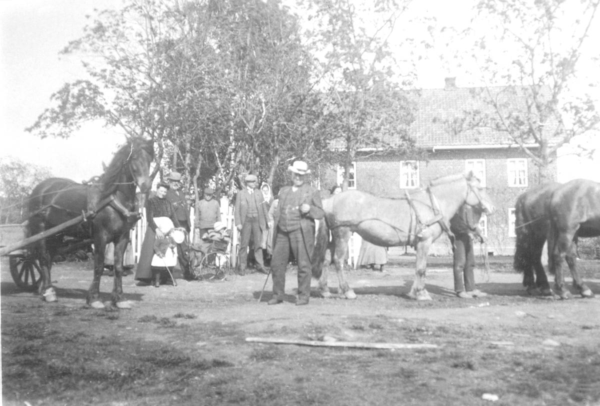 Sjølfolk, arbeidsfolk og hester foran hovedbygningen på Mellom-Kise, Nes, Hedmark.