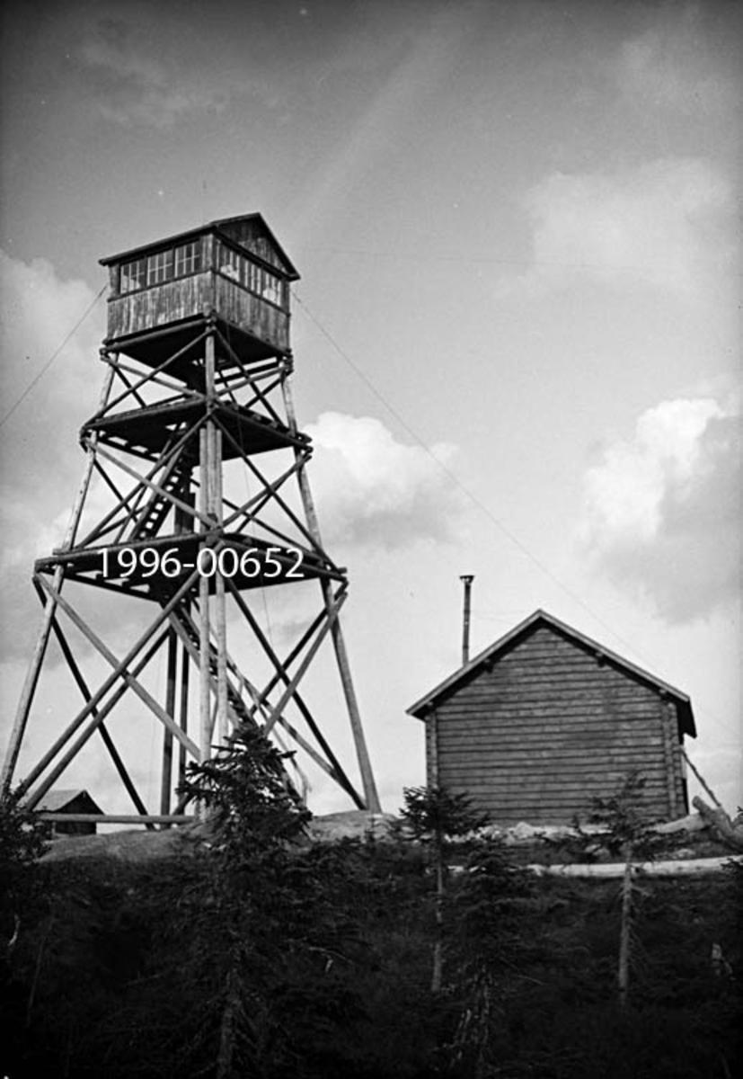 Blåenga skogbrannvakstasjon i Våler i Hedmark.  Stasjonen ligger 626 meter over havet.  Det første anlegget her ble reist av lokale skogeiere i 1907, men det tårnet som vises på fotografiet er antakelig det andre, som ble reist med støtte fra forsikringsselskapet Skogbrand i 1933.  Dette ble seinere (1951) erstattet av et ståltårn.   Tårnet på fotografiet er en bratt pyramidal stolpekonstruksjon med kryssavstivinger i tre nivåer.  Mellom hvert nivå er den en plattform med stige som fører videre oppover mot utkikkshytta på toppen.  Dette er en bordkledd bindingsverkskonstruksjon med tettstilte vinduer i alle himmelretninger og saltak. Til høyre for tårnet ses den bakre gavlveggen på ei enetasjes laftehytte.  Hytta tjente antakelig som oppholdssted for brannvakten.