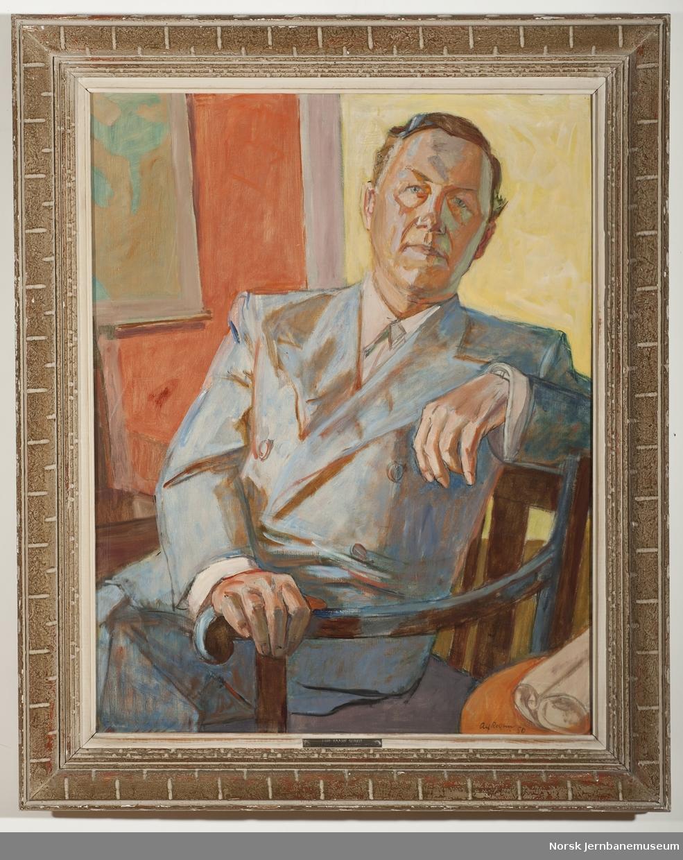 Maleri i ramme av generaldirektør Egil Kaare Sundt. Generaldirektør i NSB 1946-1950.
