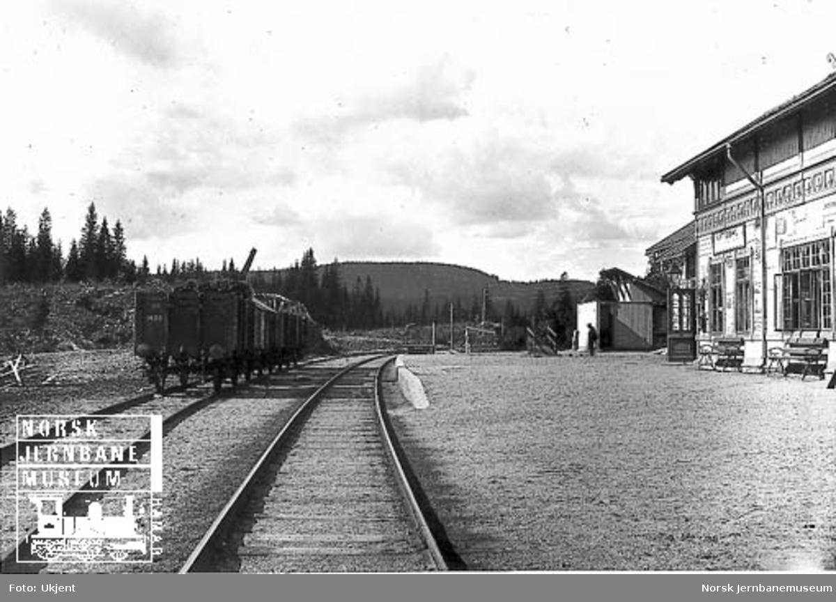 Nittedal stasjon med noen godsvogner på stasjonen