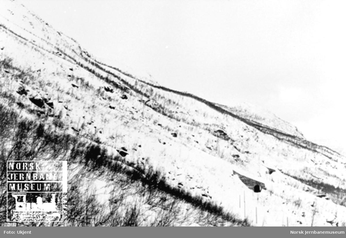 Jernbanen med et rasoverbygg i skredpartiet under Tøtta