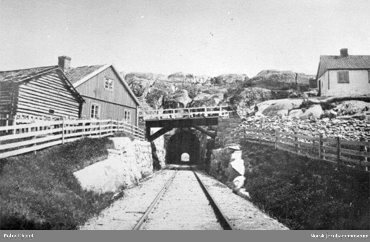 Linjen mot Fredrikstad tunnel med vegovergang