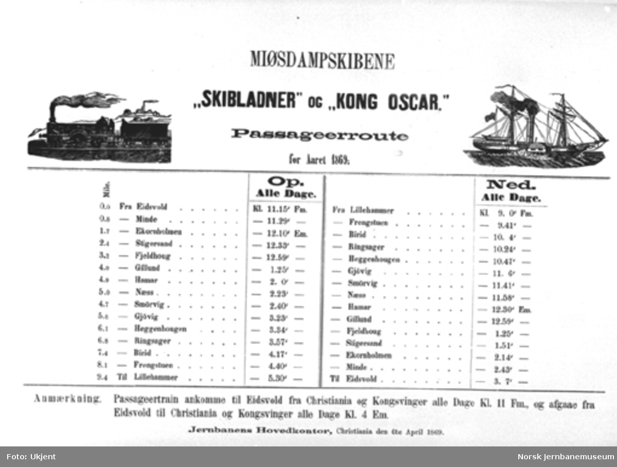"""Rutetabell for Mjøsdampskibene """"Skibladner"""" og """"Kong Oscar"""" fra 1869"""