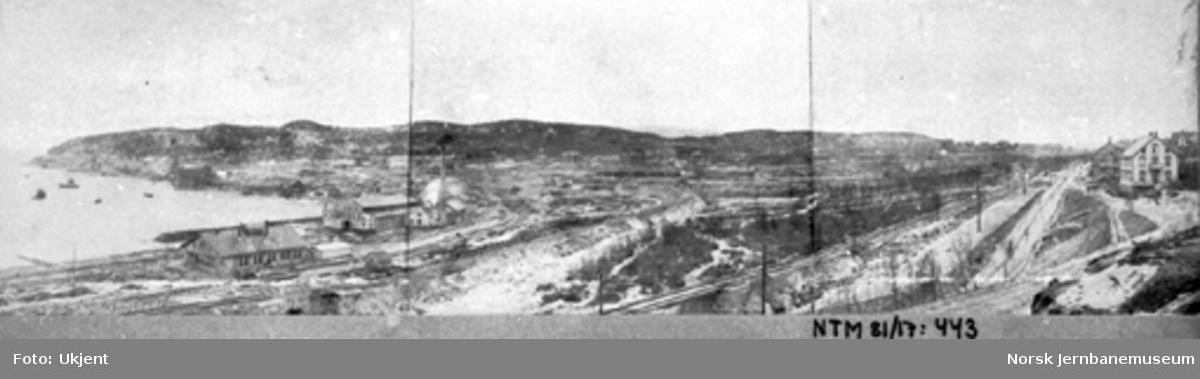Oversiktsbilde over Narvik med bolagets anlegg