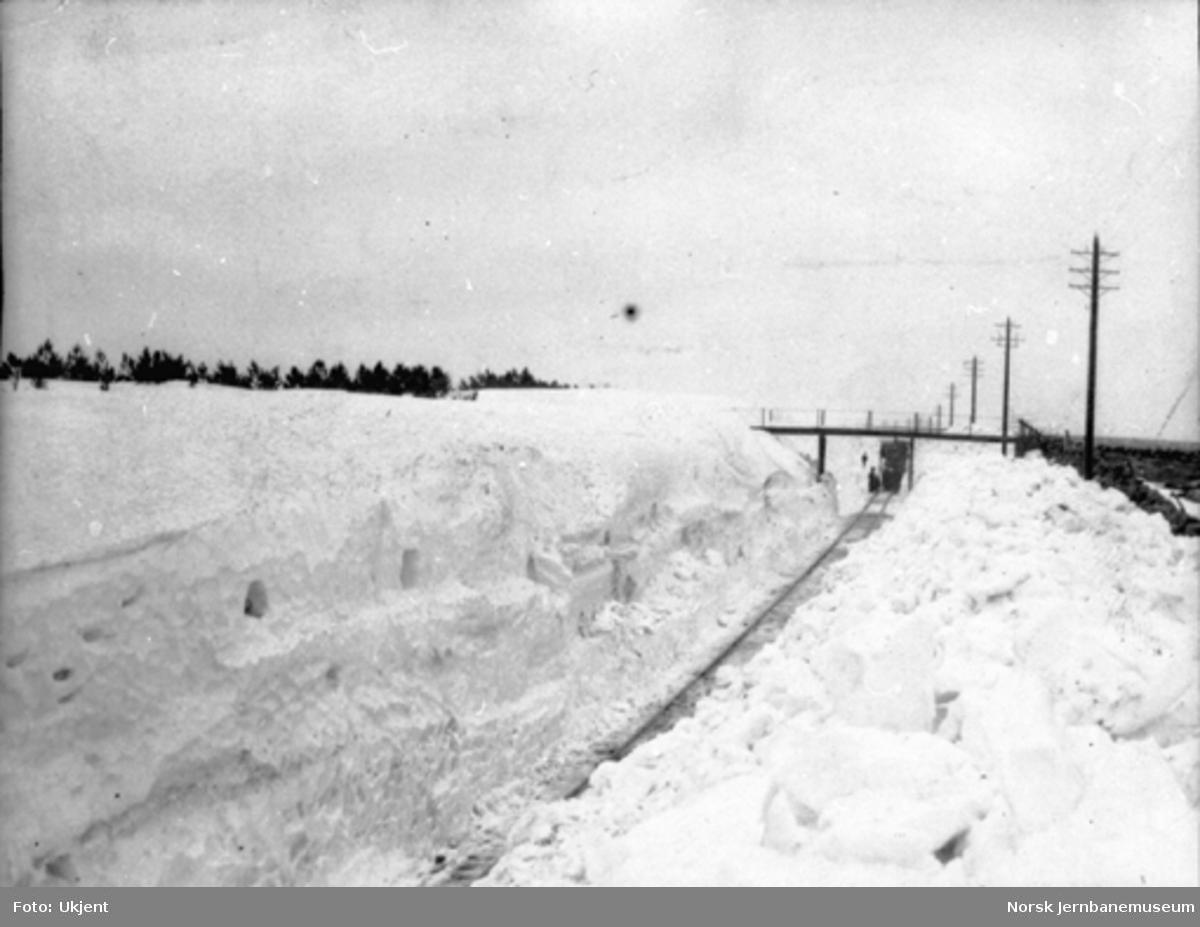 Vinter på Jærbanen, befaring ved brøytekanter i Kviaskjæringene