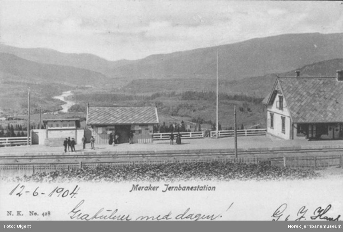Meråker stasjon med deler av stasjonsbygningen, godshuset og utsikten