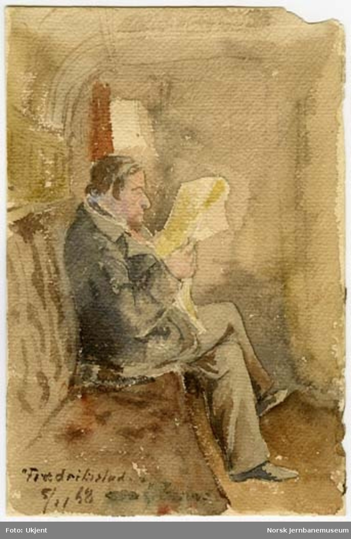Akvarell : herre i jernbanekupé