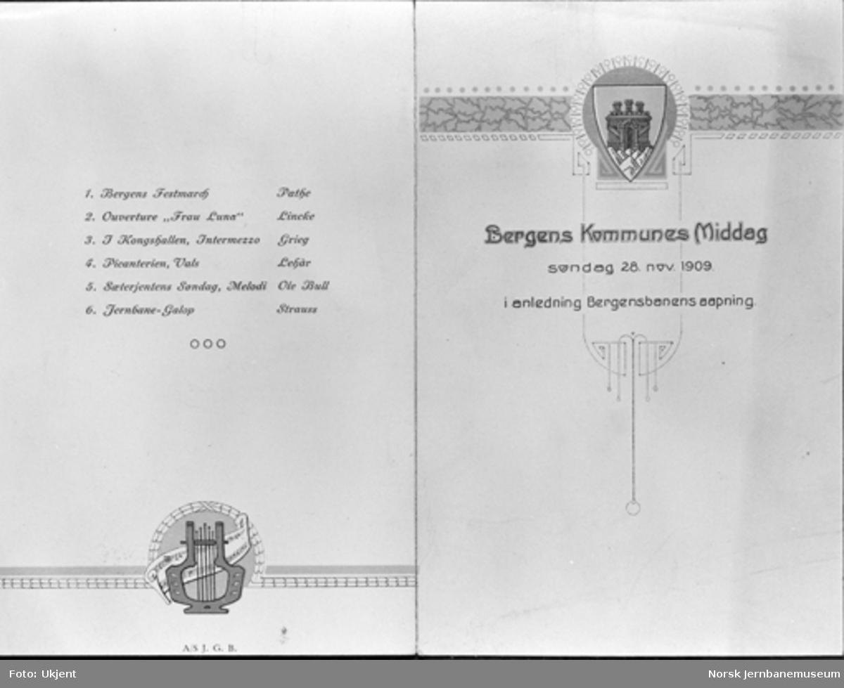 Meny for Bergen Kommunes Middag i anledning Bergensbanens åpning 28. november 1909