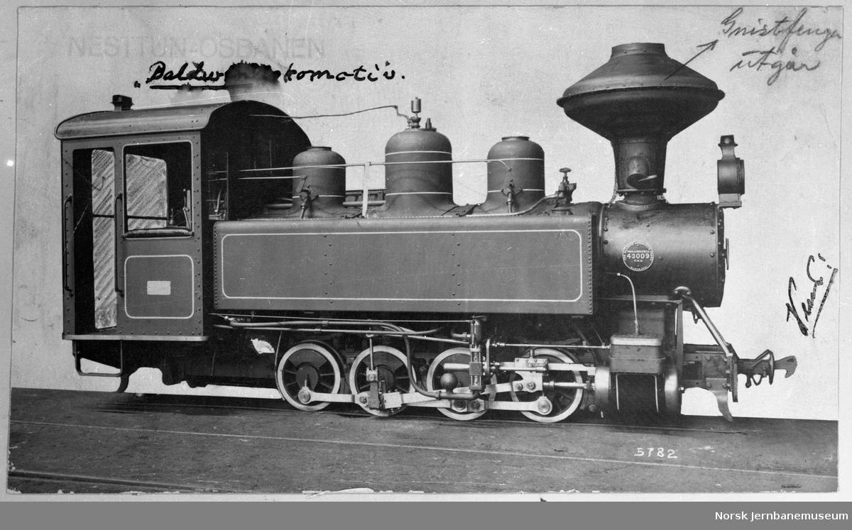 Damplokomotivbilde fra Baldwin Locomotive Works, sendt Osbanen i forbindelse med tilbud