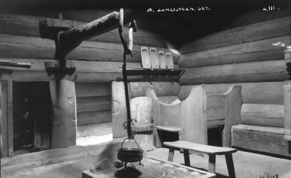 Årestue fra Åmlid, Valle. Fotografert på Norsk folkemuseum, 1923.